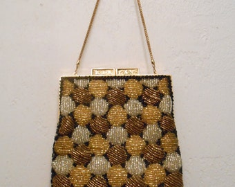 Vintage 1950s WALBORG black, gold, bronze, and gray hand-beaded polka-dot satin-lined evening bag / clutch