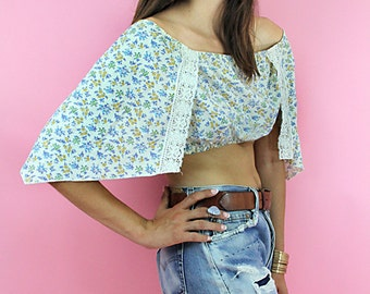 Blouse Vintage 70s Floral Lace KERCHIEF Bohemian Hippie Blouse // Vintage Clothing by TatiTati Style on Etsy