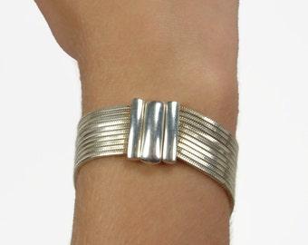 Sterling Silver Multi Strand Bracelet Milor Italy
