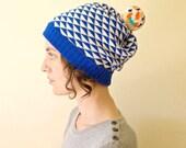 Knit Hat Womens Winter Hat Slouchy Beanie - Royal Blue & White with Orange Multi Pom Pom