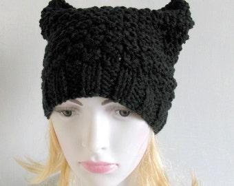 Knit Hat Cat Ears Hat Cat Beanie Chunky Knit Winter Accessories Black Cat Animals Hat cat ears hat