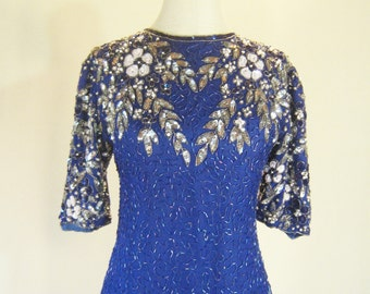 Blue Elegant Beaded Floral Sequin Evening Dress L
