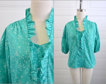 1970s Green Ruffled Floral Blouse