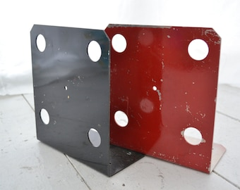 1970s Red and Black Metal Industrial Bookends, 1 Pair