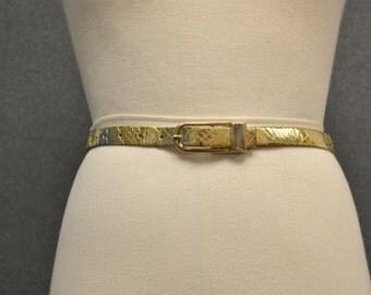 1960s Schaffer Gold Faux Snakeskin Belt