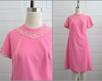 1960s House of Shroyers Bright Pink Lacy Dress