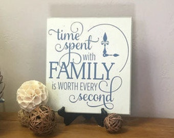 Family sign, Wooden Sign, Time spent with family is worth every second Shabby Chic family quote Inspirational Gift, Gifts Under 25