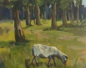 Grazing Sheep - 8x8 Original Acrylic Painting