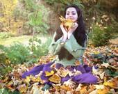 Elvish Jumper  ~ Green Pixie Top ~ Fleece ~ Made to Measure ~ Faerie Waer ~ Quintessential Fairy Camouflage ~ technodolly