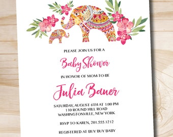 Boho Indian Floral Baby Shower Invitation - Printable Digital file or Printed Invitations