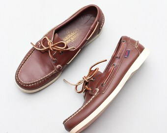 vintage 80s Sebago Docksides - brown leather boat shoes / Docksiders - preppy deck shoes - blucher moccasins / men's 7.5 M - ladies 9 - 9.5