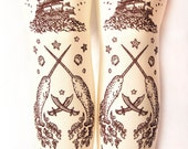 SALE XL Narwhal Tattoo Tights Extra Large Plus Size Chocolate Brown on Cream Ivory Sailor Octopus Pirate Lolita Nautical