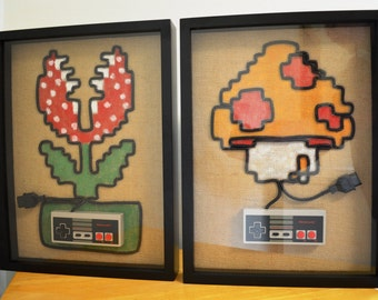 Nintendo NES Wall Art Shadow Box 2 Piece Set - Mushroom and Piranha Plant