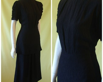 1930s Dress / 30s Evening Dress / Katharine Hepburn Style / Black Textured Rayon / Peplum Over Skirt / XS Small to Small