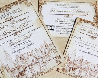 new york themed wedding invitation set vintage new york city parchment style wedding invitations