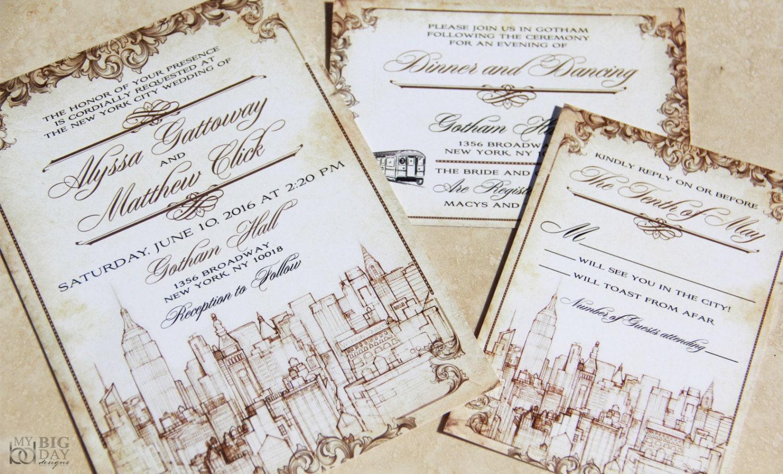 New York Themed Wedding Invitation Set. Vintage New York City