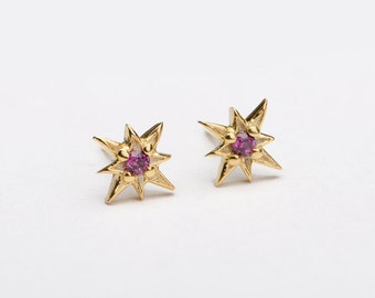 Purple Garnet Starburst Stud Earrings, Sterling Silver, Gold Plated, North Star Earrings, Minimal Lunaijewelry, Handmade Gift, STD049PGR