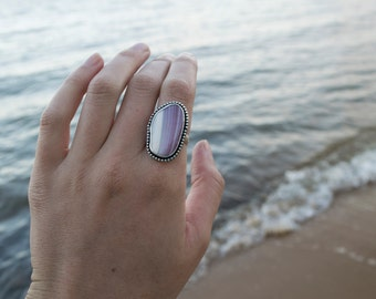 Wampum Ring | Sterling Silver Ring Size 9 | Seashell Ring | Mermaid Ring | Mermaid Jewelry