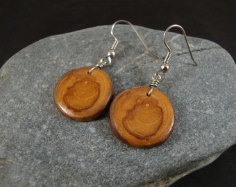 Round Wooden Dangle Earrings -  Apple Wood Tree Branch - Great gift for a birthday or anniversary