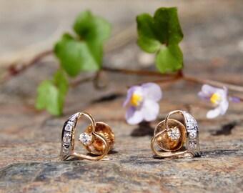 18K Rose & White Gold Diamond Heart Earrings