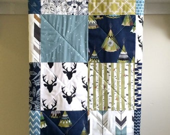 Rustic Baby Quilt Boy - TeePee Navy - Deer, Woodland, Native American, Antlers, Birch Trees, Arrow, Olive, Blue, Gray, Black, Crib Bedding