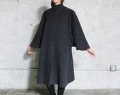 Cape Cloak Coat Jacket, 60s dark grey wool felt Cape sleeved long heavy coat, womens m/l minimal architectural  1960s