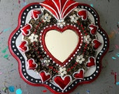 Mexican tin sacred heart on wood plaque / Mexican folk art / silver red / Christmas gift/ tin mirror