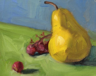 Small oil painting, pear art, grape art, food painting, kitchen art, wall decor by Marlene Lee