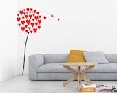 Dandelion Heart Decal, Dandelion Decal, Valentines Day Decor, Heart Decal, Wall Decal, Dandelion Wall Decor, Heart Decor, Heart Sticker