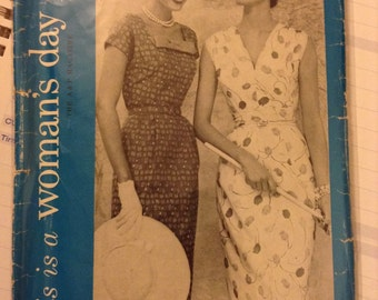 Vintage Woman's Day 5074 Dress 1950s Sewing Pattern 28 Inch Bust