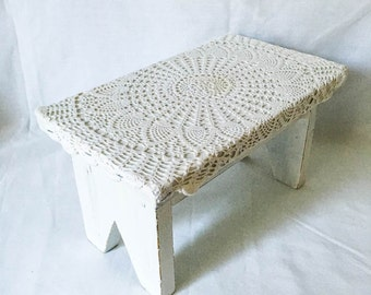 Foot Stool - Cottage foot stool - Distressed white foot stool - Shabby foot stool - Shabby furniture - White home decor - Lace foot stool