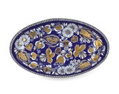 Austrian Enamelware Dish/ Cobalt Blue Enamel Dish/ Vintage Folk Art Dish/ Mid Century C1960s