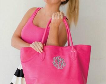 Monogram Hot Pink Purse - Leatherlike