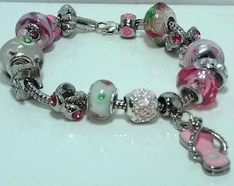 Pink and White European Style Bracelet