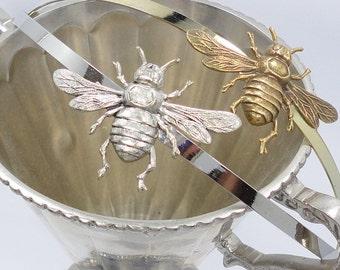 Gold  Siilver Bumble Bee Hairband headband Antiqued  vintage bridal bridesmaids long estate elegant old hollywood