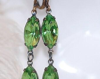Peridot Green Navette crystal vintage bridal bridesmaids long estate old hollywood