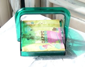 Vintage Guzzini Green Plastic Serviette Holder - Napkin Holder - Mid Century - Made In Italy - Table Decor - Spring Vintage Finds - SPT