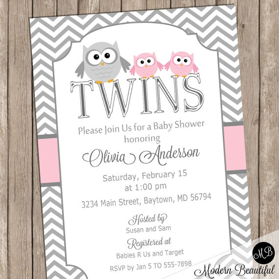Girl twins owl baby shower invitation pink owls chevron baby il570xn filmwisefo Images