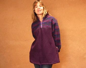 90s SLOUCHY ikat style parka SOUTHWEST oversize large FLEECE sweatshirt jacket