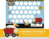 Kids Reward Chart - Construction Truck - Habit Tracker - Responsibility Chart