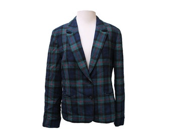 Vintage Women's Plaid Pendleton Wool Blazer Size Medium