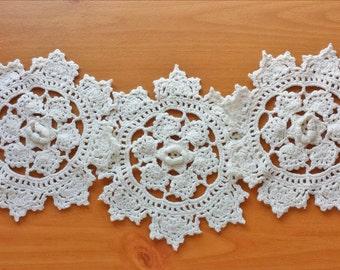 Vintage Crochet Flower Doilies, Set of Three Doilies, 6 inch size, Crochet Flower Appliques, Rosette Flower Doilies, Dimensional Flowers