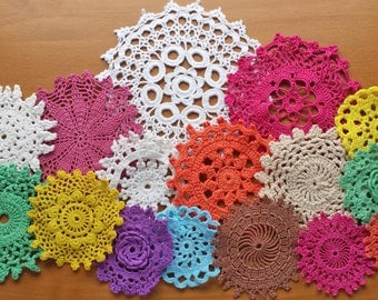 18 Colorful Hand Dyed Crochet Doilies