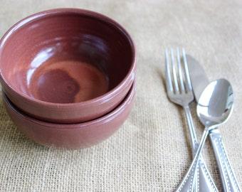 Small pottery salsa bowls, set of two ramekins, wheel thrown, stoneware