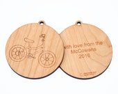 personalized bike christmas ornament // wooden ornament // holiday decoration