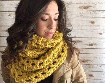 Mustard Oversized Chunky Scarf, Wool Blend Wide Scarf, Crocheted Infinity Scarf,  Winter Accessories