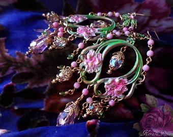 """Pastel Art Nouveau Bohemian Iris Flower Earrings, Mint Green & Light Pink Antique Floral Chandelier Earrings, Crystal, 4 1/2"""" Long, Pretty!"""