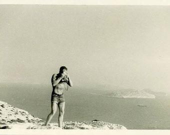 "Vintage Photo ""The Jean Shorts Photographer"" Beach Camera Snapshot Old Photo Black & White Photograph Found Paper Ephemera Vernacular - 54"