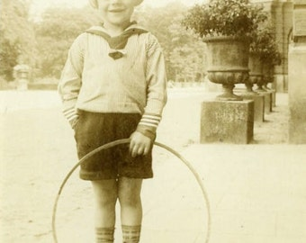 """Vintage Photo """"Cutie with a Hoop"""" Kid Playing with Toy Snapshot Antique Photo Black & White Photograph Found Paper Ephemera Vernacular - 36"""