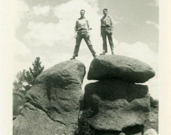 "Vintage Photo ""Rock Conquerors"" Boys Men Climbing Snapshot Antique Photo Old Black & White Photograph Found Paper Ephemera Vernacular - 157"